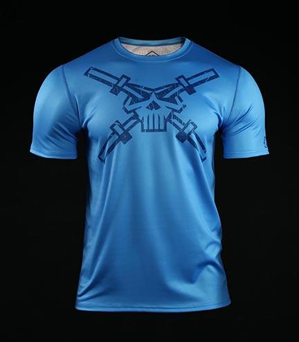 Koszulka treningowa (T-shirt) Crossborn Skull Dirt Niebieska